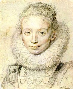 Peter Paul Rubens - Portrait of a Chambermaid Chalk