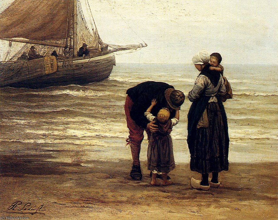 A fishermans goodbye by Philippe Lodowyck Jacob Sadee (1837-1904, Netherlands)