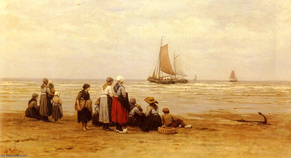 Seeing off the fishermen by Philippe Lodowyck Jacob Sadee (1837-1904, Netherlands)
