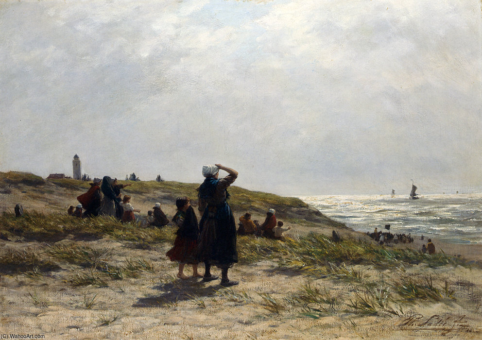 Philip lodewijk jacob frederik the return of the fishing fleet katwijk by Philippe Lodowyck Jacob Sadee (1837-1904, Netherlands)