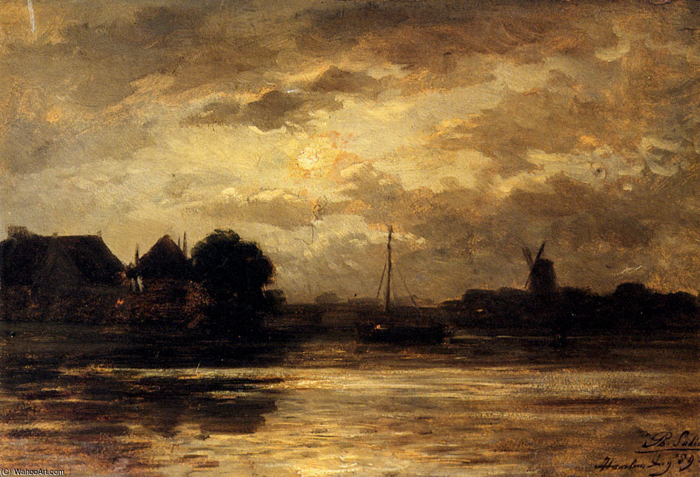 Philip lodewijk jacob view of the spaarne haarlem by moonlight by Philippe Lodowyck Jacob Sadee (1837-1904, Netherlands)
