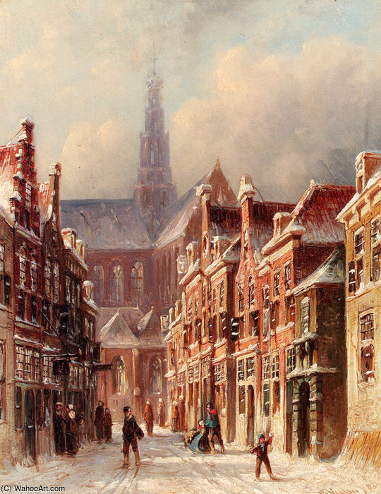 Petrus Gerardus A Snowy Street with The St Bavo Beyond Haarlem by Pieter Gerard Vertin (1819-1893, Netherlands) | Paintings Reproductions Pieter Gerard Vertin | WahooArt.com