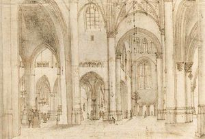 Pieter Jansz Saenredam - Interior of st bavos church in haarlem