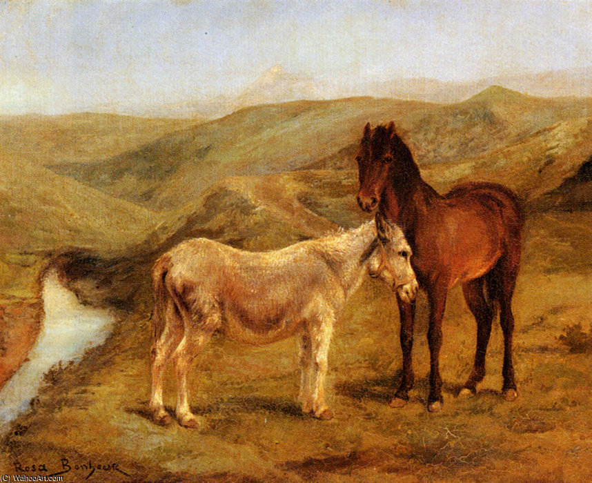 A horse and donkeys in a hilly landscape by Rosa Bonheur (1822-1899, France)