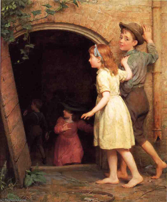 The Haunted Cellar (Who-s Afraid) by Seymour Joseph Guy (1824-1910, United Kingdom) | Famous Paintings Reproductions | WahooArt.com