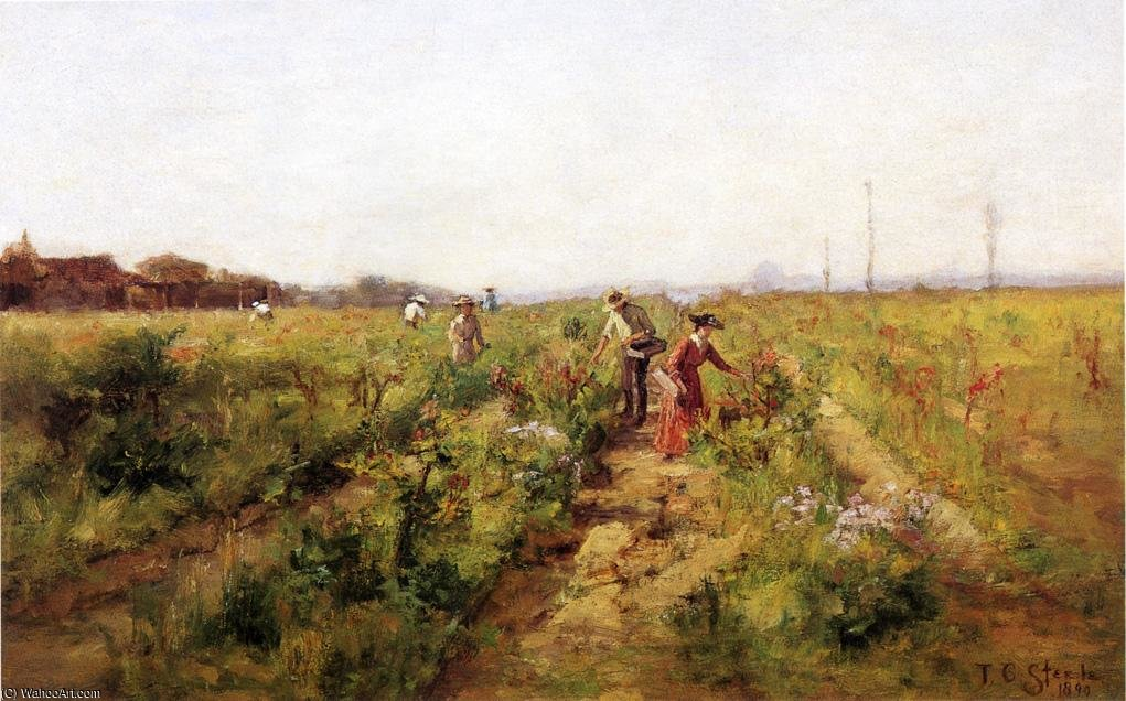 In the Berry Field ), 1890 by Theodore Clement Steele (1847-1926, United States) | Famous Paintings Reproductions | WahooArt.com