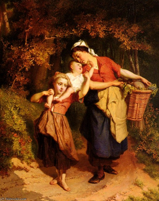 Returning from the market by Theodore Gerard (1829-1895, Belgium) | Museum Quality Copies Theodore Gerard | WahooArt.com
