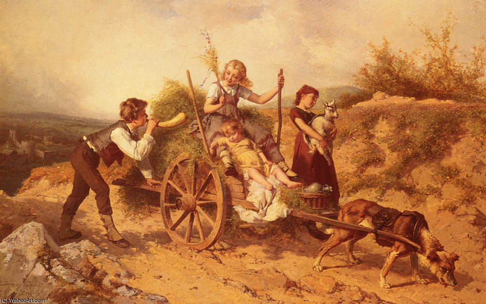 The country children by Theodore Gerard (1829-1895, Belgium) | Oil Painting | WahooArt.com
