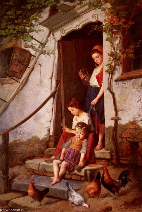 The farmers children by Theodore Gerard (1829-1895, Belgium) | Museum Quality Reproductions | WahooArt.com