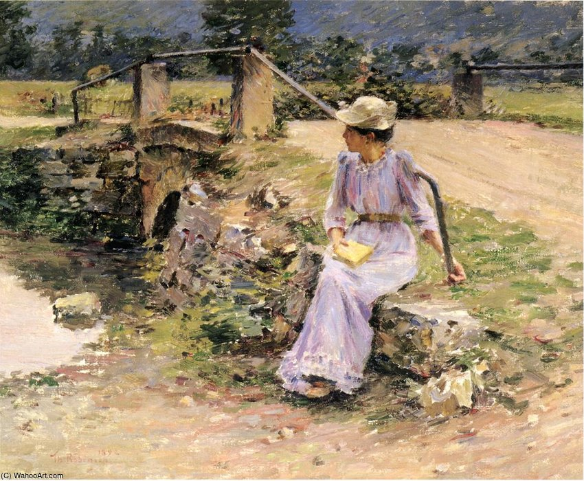 Order Art Reproduction : La Debacle aka Marie at the Little Bridge by Theodore Robinson (1852-1896, United States) | WahooArt.com