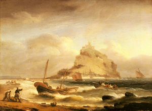 Thomas Luny - Fishermen rowing in before st michaels mount