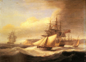 Thomas Luny - Naval Ships setting Sail With A Revenue Cutter Off Berry Head