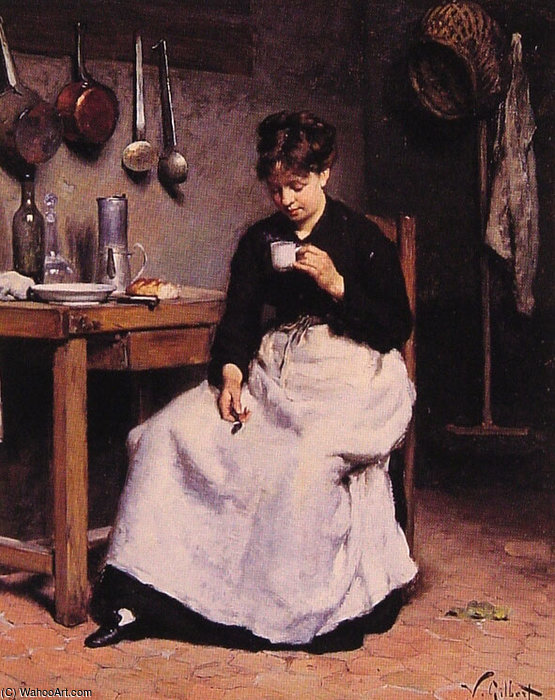 A Cup of Coffee by Victor Gabriel Gilbert (1847-1933, France)