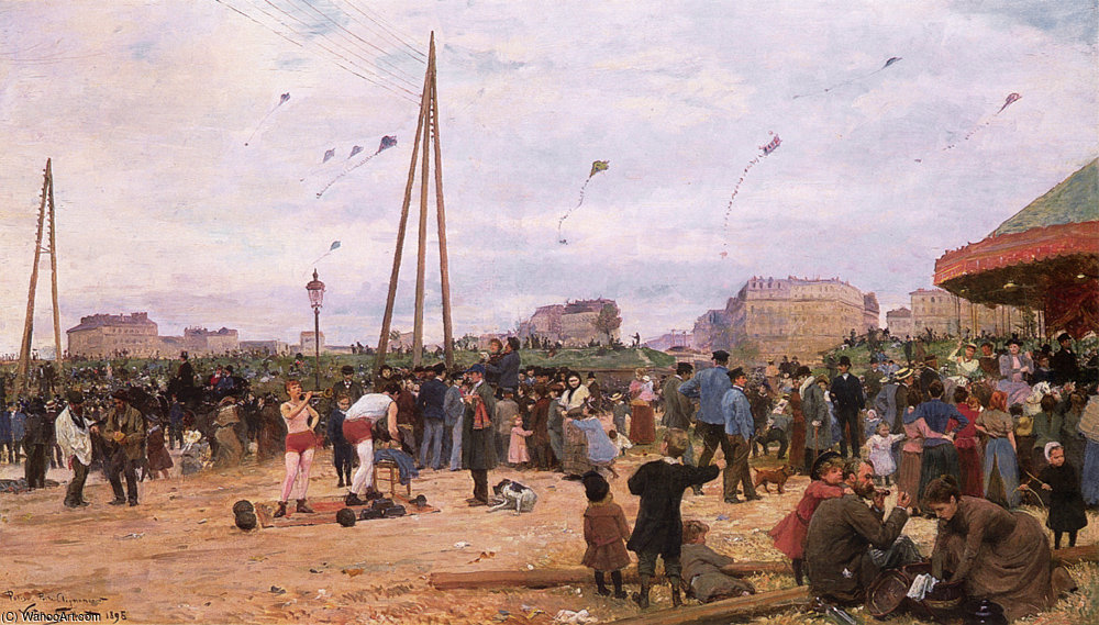 VG The Fairgrounds at Porte de Clignancourt by Victor Gabriel Gilbert (1847-1933, France) | Painting Copy | WahooArt.com