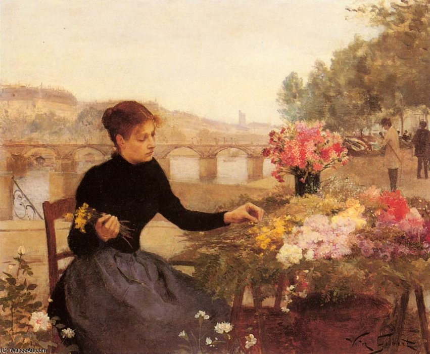 A parisian flower market by Victor Gabriel Gilbert (1847-1933, France) | Museum Quality Reproductions | WahooArt.com