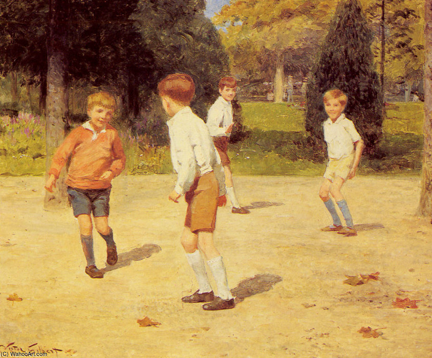 Boys playing by Victor Gabriel Gilbert (1847-1933, France) | Painting Copy | WahooArt.com