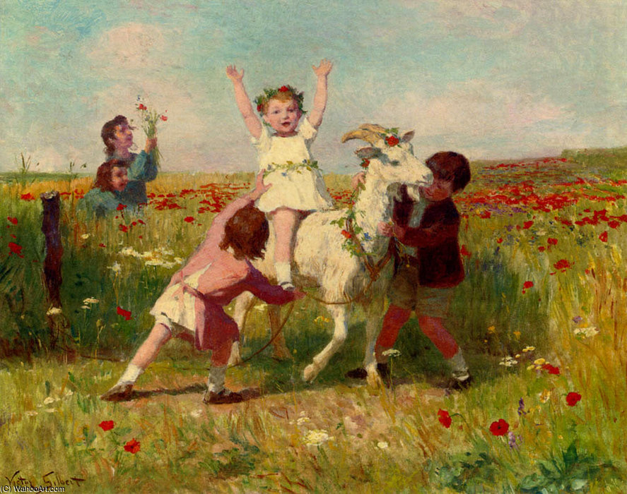 New tricks by Victor Gabriel Gilbert (1847-1933, France) | Oil Painting | WahooArt.com