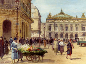 Victor Gabriel Gilbert - The flower seller place de l opera paris