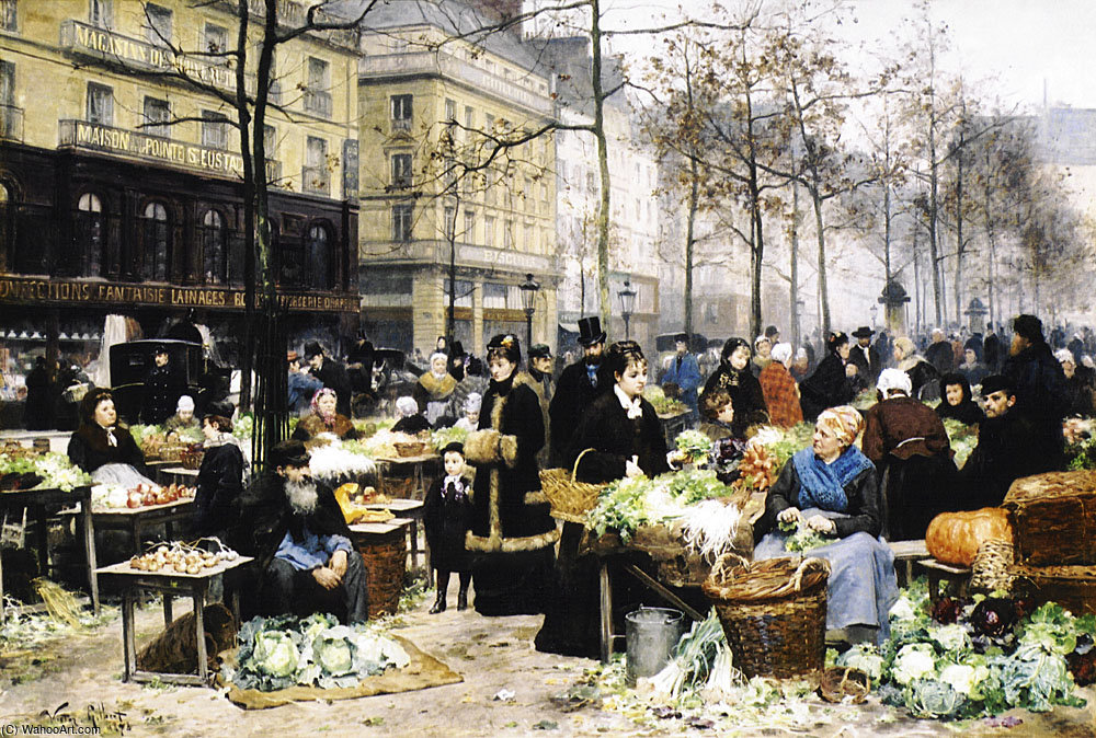 Market day by Victor Gabriel Gilbert (1847-1933, France)