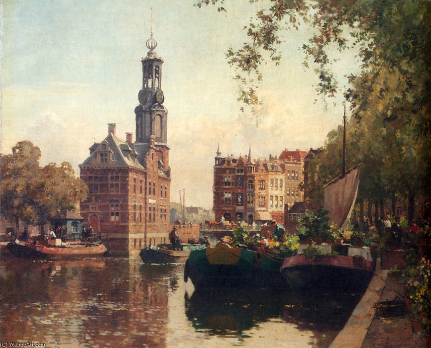 The flowermarket on the singel amsterdam with the munttoren beyond by Cornelis Vreedenburgh (1880-1946, Netherlands)