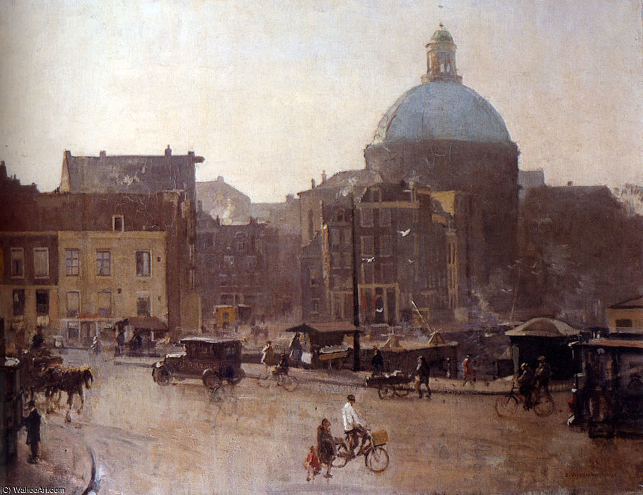 View of the singel amsterdam with the koepelkerk beyond by Cornelis Vreedenburgh (1880-1946, Netherlands)