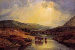 William Turner - Abergavenny Bridge Monmountshire clearing up after a showery day