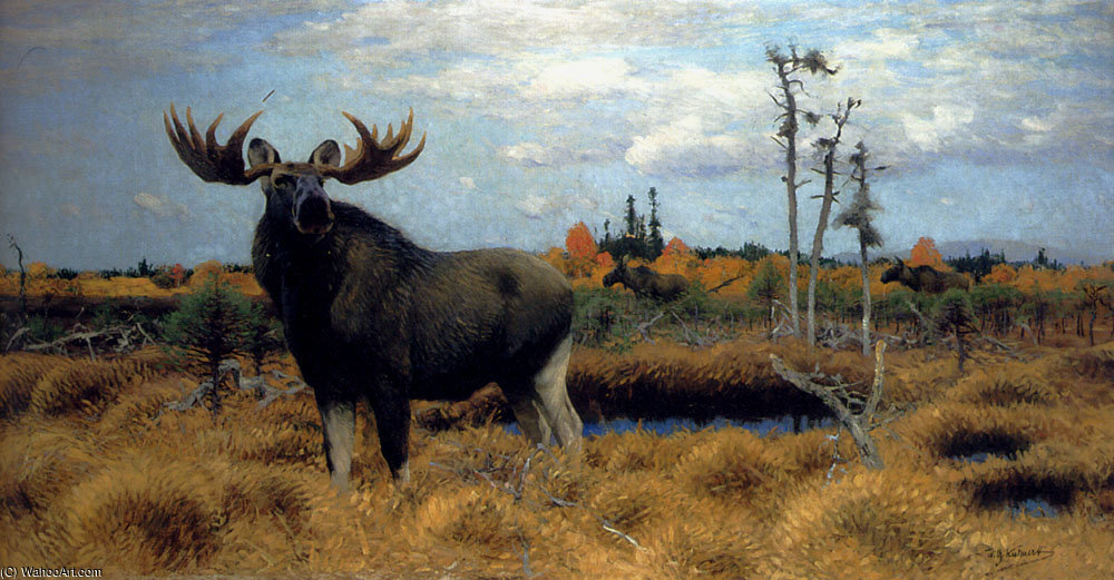 Elks in a marsh landscape by Friedrich Wilhelm Kuhnert (1865-1926, Poland) | Museum Quality Reproductions | WahooArt.com