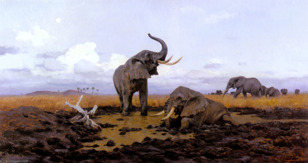 In the twilgiht elephants by Friedrich Wilhelm Kuhnert (1865-1926, Poland) | Famous Paintings Reproductions | WahooArt.com
