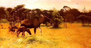 Friedrich Wilhelm Kuhnert - Moose with her calf in a landscape