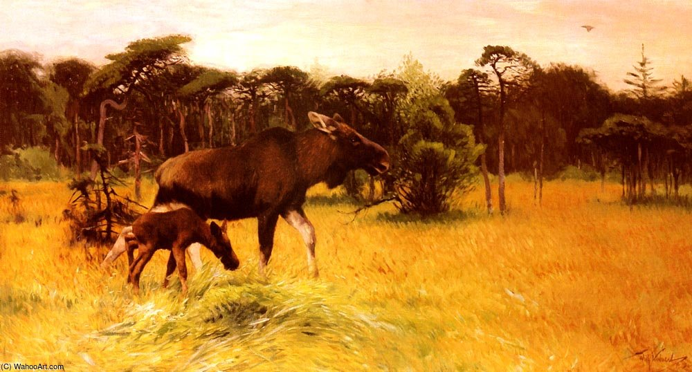 Order Art Reproductions | Moose with her calf in a landscape by Friedrich Wilhelm Kuhnert (1865-1926, Poland) | WahooArt.com