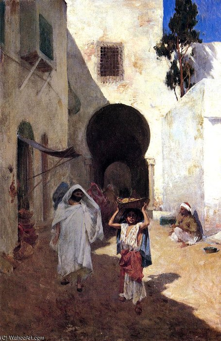 street scene tangiers by Willard Leroy Metcalf (1858-1925, United States)