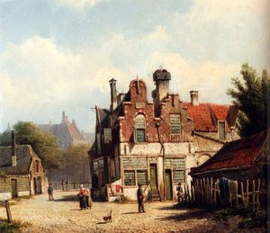 Willem Koekkoek - Houses along a village street in summer