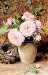 William Henry Hunt - Still Life With roses In A vase And A Birds Nest