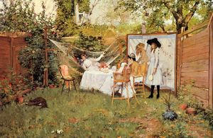 William Merritt Chase - The Open Air Breakfast aka The Backyard Breakfast Out of Doors