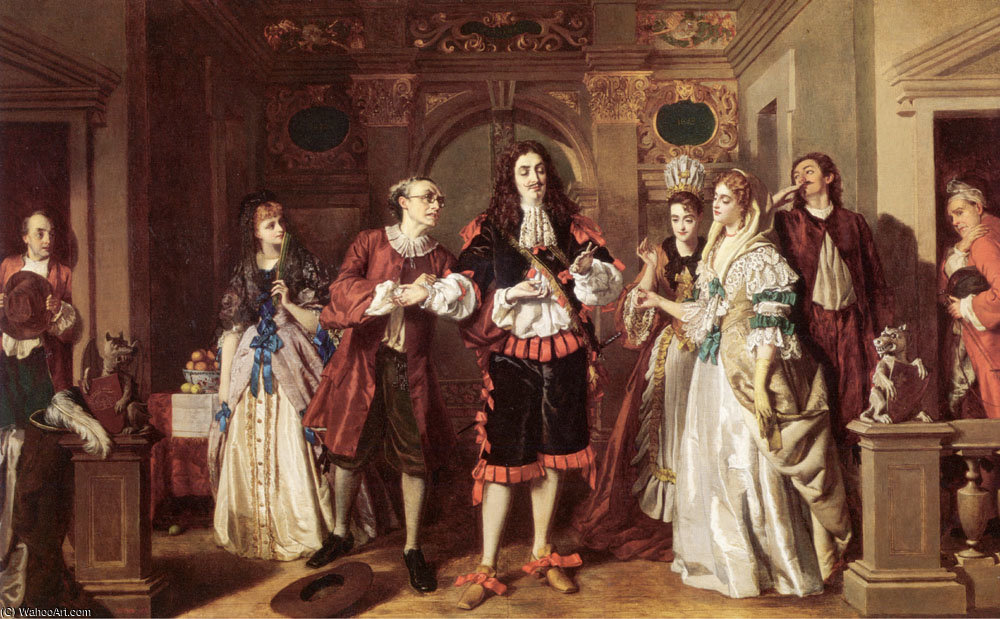 Order Paintings Reproductions | A scene from Molieres LAvare by William Powell Frith (1819-1909, United Kingdom) | WahooArt.com