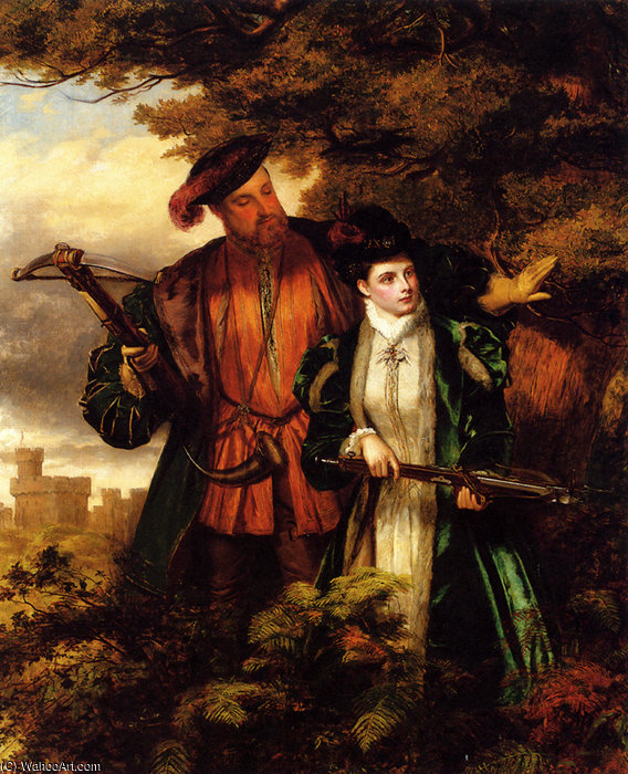 Henry VIII And Anne Boleyn Deer Shooting by William Powell Frith (1819-1909, United Kingdom) | Museum Quality Reproductions | WahooArt.com