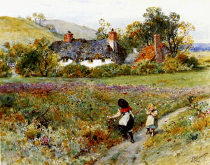 William Stephen Coleman - Children playing on a path cottages beyond