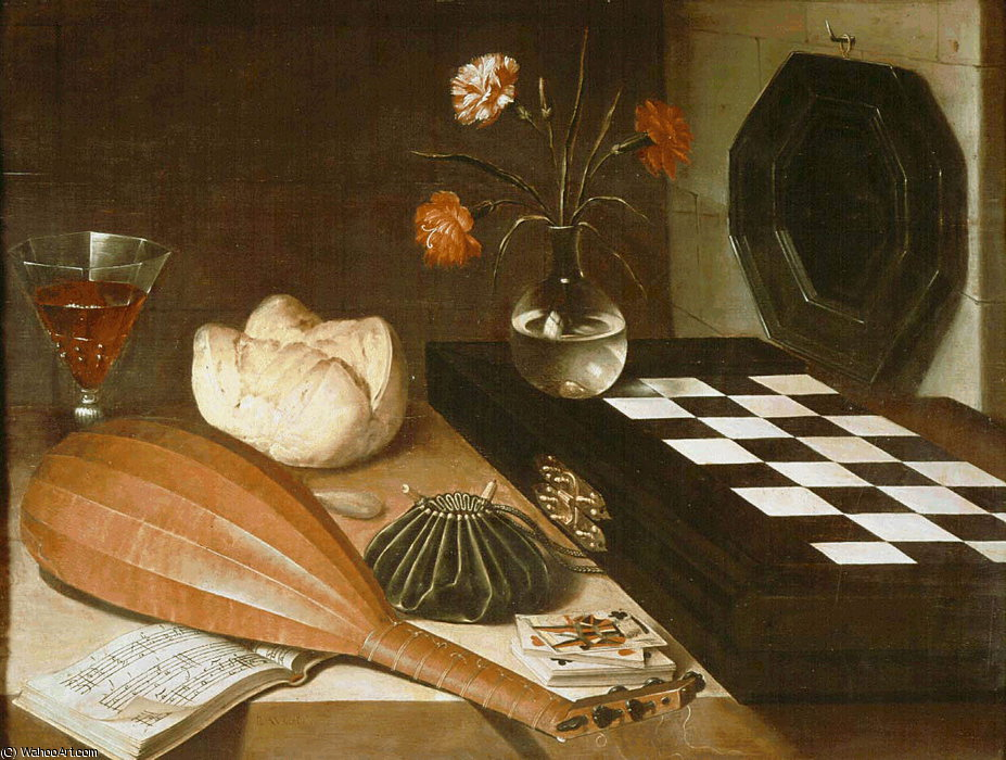 Still life with chessboard, c.1630, Louvre by Lubin Baugin (1612-1663, France)