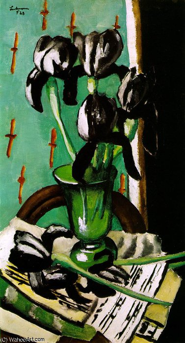 Black irises, collection r. n. ketterer,, 1928 by Max Beckmann (1884-1950, Germany) | Painting Copy | WahooArt.com