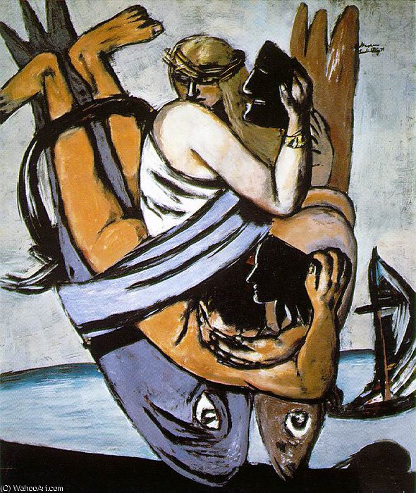 Journey on the fish, Berlin Staatsgalerie, 1934 by Max Beckmann (1884-1950, Germany) | Museum Quality Reproductions | WahooArt.com