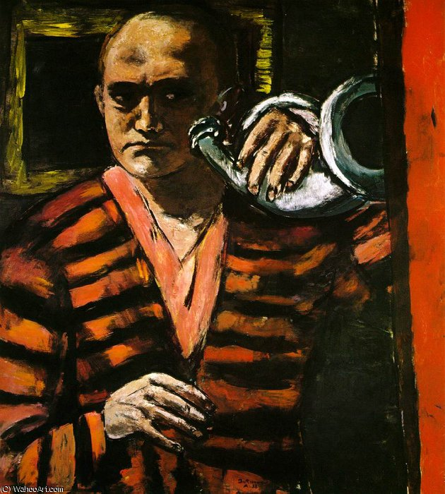 Self-Portrait with Horn, Collection Dr. a, 1938 by Max Beckmann (1884-1950, Germany) | Art Reproduction | WahooArt.com