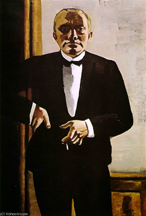 Selfportrait in tuxedo, Busch-Reisinger M, 1927 by Max Beckmann (1884-1950, Germany)