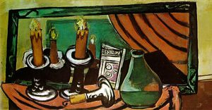 Max Beckmann - Still life with candles and mirror, Staat