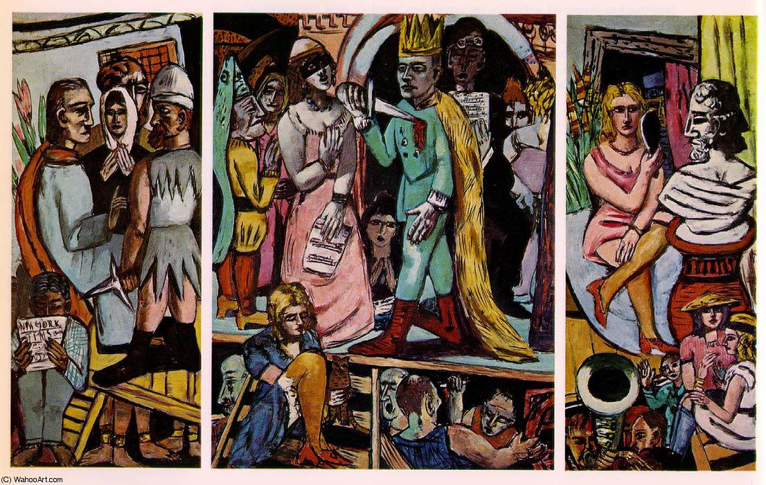 The actors, Fogg Museum, Cambridge, Massa, 1942 by Max Beckmann (1884-1950, Germany) | Famous Paintings Reproductions | WahooArt.com