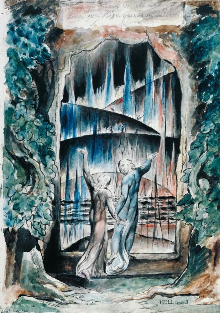 Order Paintings Reproductions | Dante and Virgil at the Gates of Hell (Illustration to Dante`s Inferno) by William Blake (1757-1827, United Kingdom) | WahooArt.com