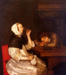 Gerard Ter Borch The Younger - Woman drinking with sleeping soldier