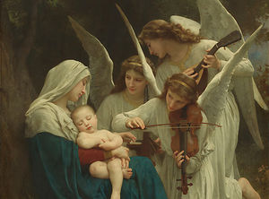 William Adolphe Bouguereau - VirginAndAngelsBeforeLarge