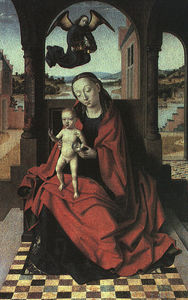 Petrus Christus - The virgin and child, oil on panel, museo