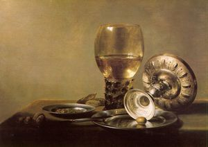 Pieter Claesz Soutman - Still Life with Wine Glass and Silver Bowl, undated,