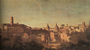 Jean Baptiste Camille Corot - The Forum Seen from the Farnese Gardens, oil on